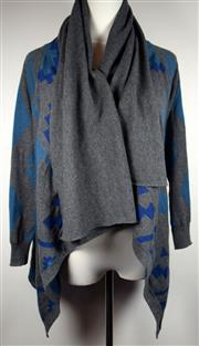 Sale 8460F - Lot 34 - A Gasparre Cashmere 100% cashmere geometric pattern cardigan in blue and grey with waterfall front, size M