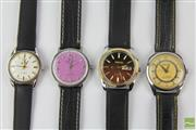 Sale 8529 - Lot 84 - Group of 4 Wrist Watches with Black Straps inc Oris, Camy, Ricoh and Favre Leuba