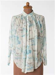 Sale 8550F - Lot 30 - A Kenzo 100% silk blue and white cloud patterned transparent shirt, with splits to sides, size 36.