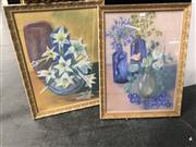 Sale 8811 - Lot 2073 - 2 Works by Elisabeth Daniels - Still Life with Agapanthas & Still Life with Lilies, pastel, SLL