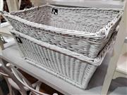Sale 8912 - Lot 1073 - Pair of White Painted Wicker Baskets