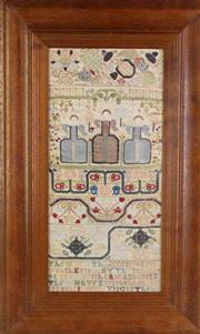Sale 8931B - Lot 667 - Framed Hand Woven Sampler Tapestry featuring three ladies (81cm x 50cm)