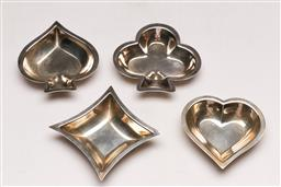Sale 9128 - Lot 77 - A Card players sterling silver set of four coin dishes, spades, clubs, diamonds and hearts, each (8cm x 8cm)
