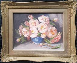 Sale 9155 - Lot 2007 - Marjorie Baker  Pink Camelias oil on canvas on board, frame; 45 x 54 cm, signed lower right -