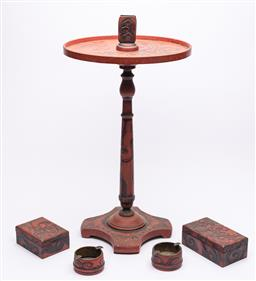 Sale 9170H - Lot 47 - A red lacquered smokers stand with a pair of matching ashtrays and two lidded boxes, stand Height 61cm