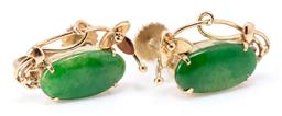 Sale 9169 - Lot 369 - A PAIR OF 14CT GOLD JADE CLIP EARRINGS; each set with an oval shaped jadeite jade to screw fitting, size 18 x 12mm, wt. 3.66g.