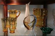 Sale 8081 - Lot 93 - Belgian Amber Glass Vase with Other Glass Wares incl a Drinks Suite
