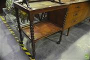 Sale 8305 - Lot 1093 - Drinks Trolley with Barley Twist Supports & Glass and Rattan Top