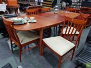 Sale 8585 - Lot 1042 - McIntosh Teak Table and Set of Six Chairs (74 x 180 / 226 x 100cm)