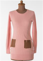 Sale 8550F - Lot 4 - A Burberry 100% cashmere pink long sleeved mini-dress, with two brown leather pockets to the front, size 40.