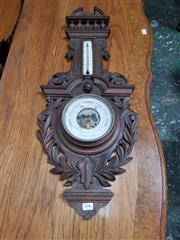 Sale 8868 - Lot 1046 - Late 19 Century French Carved Walnut Barometer, with gallery top & pierced branches below