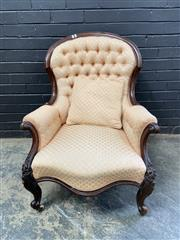 Sale 9048 - Lot 1088 - Victorian Carved Walnut Gentlemans Armchair, the balloon back buttoned in cream diaper fabric & raised on cabriole legs (H:92 W:71...