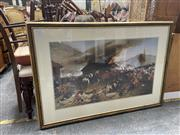 Sale 9069 - Lot 2073 - Decorative Print of The Defence of Rorkes Drift by Alphonse De Neuville, 82 x 119cm; together with a print of the Eiffel Tower and...