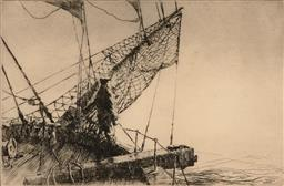 Sale 9216A - Lot 5084 - ARTHUR BRISCOE (1920 - 1997) Prow of the Ship drypoint etching, ed. 65/75 19.5 x 30 cm (frame: 43 x 53 x 2 cm) signed lower right