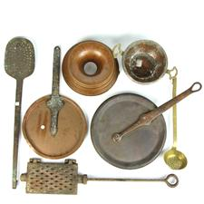 Sale 8351A - Lot 96 - Collection of Vintage French Copper and Brass Cooking Wares Incl Jelly Mould, Utensils and Lids