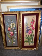 Sale 8422T - Lot 2043 - 2 Gilt Framed Floral Tapestries, 56.5 x 27.5cm