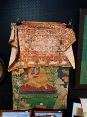 Sale 8619 - Lot 2053 - Guanyin Silk Infused Wall Hanging Together with Small Tapa Cloth