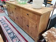 Sale 8657 - Lot 1031 - Parquetry Timber Buffet with Three Drawers & Six Doors (H: 90 W: 200 D: 45cm)