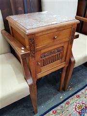 Sale 8693 - Lot 1014 - Art Deco French Oak Bedside Cabinet, with mottled marble top, a drawer, door & turned legs