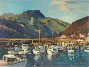 Sale 8781 - Lot 578 - Douglas Badcock (1922 - 2009) - Boat Harbour, Havelock, Marlborough, South Island, NZ, 1972 45.5 x 61cm