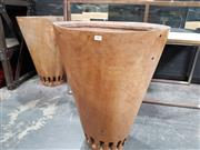 Sale 8834 - Lot 1004 - Pair of Large Carved Timber Planters