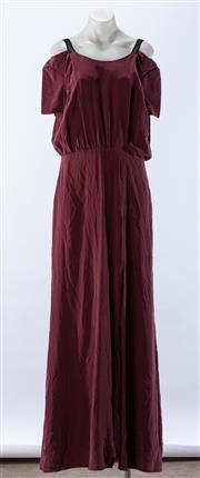 Sale 8910F - Lot 53 - An Isabell de Hillerin burgundy silk dress with empire waistline, size 40, as new with tags