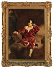 Sale 8908H - Lot 94 - After SIR THOMAS LAWRENCE - Print of a Young Boy image size 43.0 x 32.0cm in an elaborate gilt frame