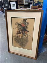 Sale 9019 - Lot 2056 - David Leonard Japanese Skirmishers 1973 colour offset lithograph ed. 21/99, 101 x 71cm (frame) signed and dated