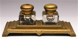 Sale 9136 - Lot 292 - Brass and glass inkwell (W: 28cm)