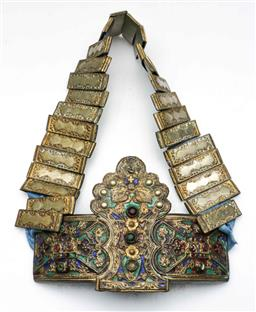 Sale 9144 - Lot 207 - An early metal and enamelled belt (L:70cm)