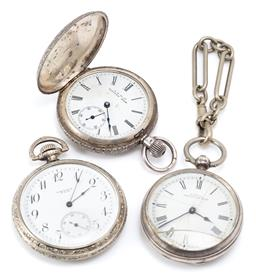 Sale 9164J - Lot 368 - THREE VINTAGE POCKET WATCHES; a ladys Waltham silver full hunter with white dial Roman numerals, subsidiary seconds, plate movement...
