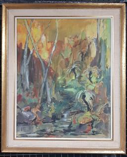 Sale 9155 - Lot 2018 - Artist Unknown Rainforest, oil on board, frame: 56 x 46 cm, signed lower right -