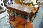 Sale 8093 - Lot 1350 - Victorian Marquetry Card Table, with Tunbridge style medallions, baize interior & double column supports