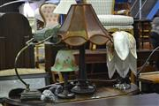 Sale 8093 - Lot 1100 - 4 Varied Table Lamps incl. Leadlight Shade Bankers Lamp & 3 Others