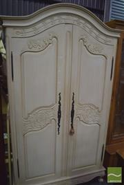 Sale 8359 - Lot 1729 - White Painted & Carved Two Door Armoire