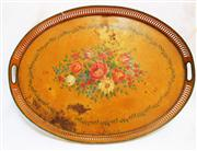 Sale 8362A - Lot 45 - A large metal vintage French oval drinks tray with painted still life, size 57 x 43 cm