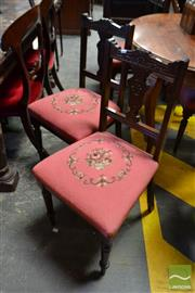 Sale 8500 - Lot 1096 - Set of Four Edwardian Possibly Carved Walnut Chairs, with red floral tapestry upholstered seats & turned legs