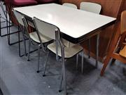 Sale 8680 - Lot 1040 - 1950s Laminate & Chrome Five Piece Kitchen Suite incl. Four Chairs and Table with Drawer