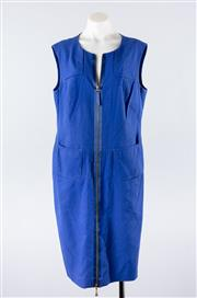 Sale 8760F - Lot 107 - An Escada sleeveless shift dress in indigo silk cotton with exposed zip detail to front, size 44