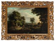 Sale 8908H - Lot 9 - ARTIST UNKNOWN, C19th Continental School - Figures in a Landscape