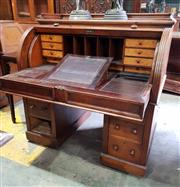 Sale 8956 - Lot 1072 - Victorian Mahogany Cylinder Desk, with fitted interior & slide-out leather writing surface, above six drawers - missing one knob, on...