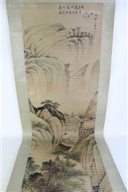 Sale 8902C - Lot 685 - Mountain and River Scene Chinese Scroll (L225cm)