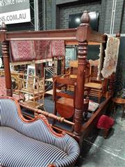 Sale 8925 - Lot 1011 - A stained pine four poster bed (H: 230 L: 230 W: 175cm)