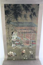 Sale 8948 - Lot 34 - A Chinese Scroll of Children at Play (L 154cm)