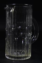 Sale 8997 - Lot 17 - Scandinavian Textured Glass Water Pitcher, Probably Kosta Boda , H:21cm