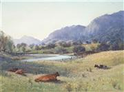 Sale 9021 - Lot 505 - Sidney Woodward Smith (1904 - 1972) - Resting Cattle, Gloucester Pasture 21.5 x 29 cm (frame: 35 x 43 x 4cm)