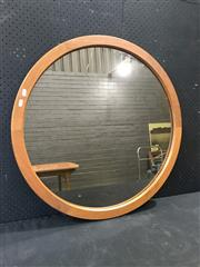 Sale 9039 - Lot 1024 - Round Teak Framed Mirror (d:80cm)
