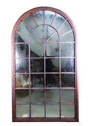 Sale 9080J - Lot 193 - A large arch form iron window frame with aged weathered copper finish  and fitted with mirrors, tarnish to mirror height 180 x 104cm