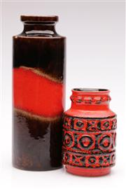 Sale 9060 - Lot 10 - A red and brown tone West German pottery vase (H26.5cm) together with a small red ground example (H14cm, small chip to rim)