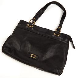 Sale 9090F - Lot 181 - A CELLINI HANDBAG; in black genuine cowhide leather with gold hardware